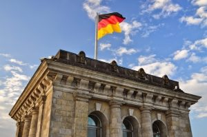 A view of a German flag atop the Brandenburg Gate.