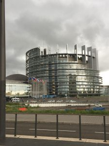 A view of the outside of the European Parliament
